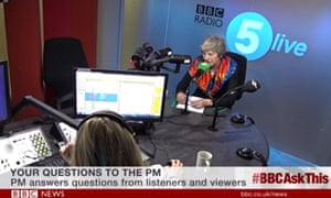 Video grab taken from BBC News of Prime Minister Theresa May taking calls on the BBC News Channel and BBC Radio 5 Live