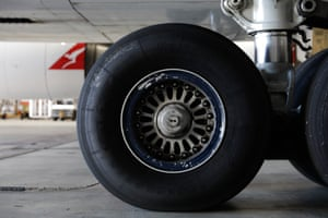 The tyres of the 747 plane.
