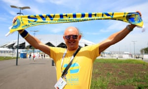A Sweden fan shows off his colours in Samara.
