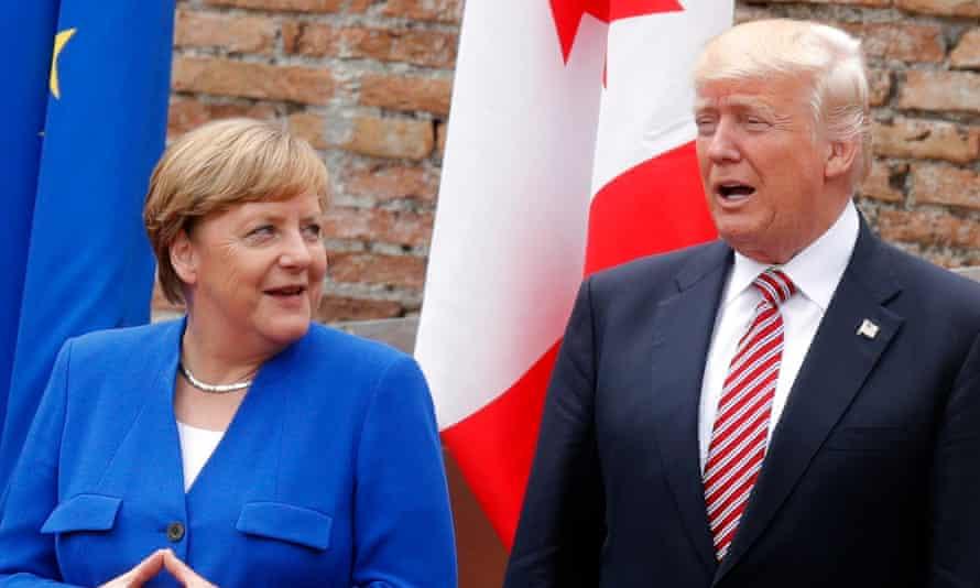 Angela Merkel and Donald Trump meet at the G7 summit in Taormina, Sicily.