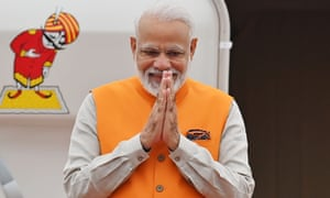 Narendra Modi arrives for the start of the G20 Osaka summit.