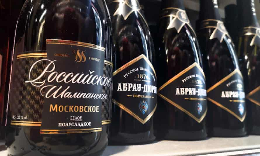 Bottles of Russian 'champagne' on sale in central Moscow.