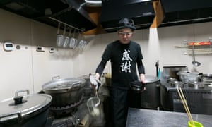 Takashi Nakamoto, a reformed yakuza, in the kitchen of his noodle restaurant Daruma-ya, in Kitakyushu, on the southern Japanese island of Kyushu.