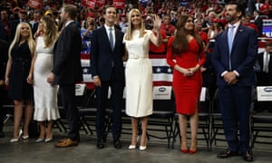 From left, Tiffany Trump, Lara Trump, Eric Trump, Jared Kushner, Ivanka Trump, Kimberly Guilfoyle and Donald Trump Jr at Donald Trump's re-election campaign rally.