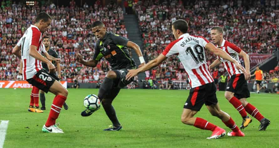 Dinamo Bucharest's Rivaldinho vies for the ball with Athletic Bilbao players in their recent Europa League qualifier