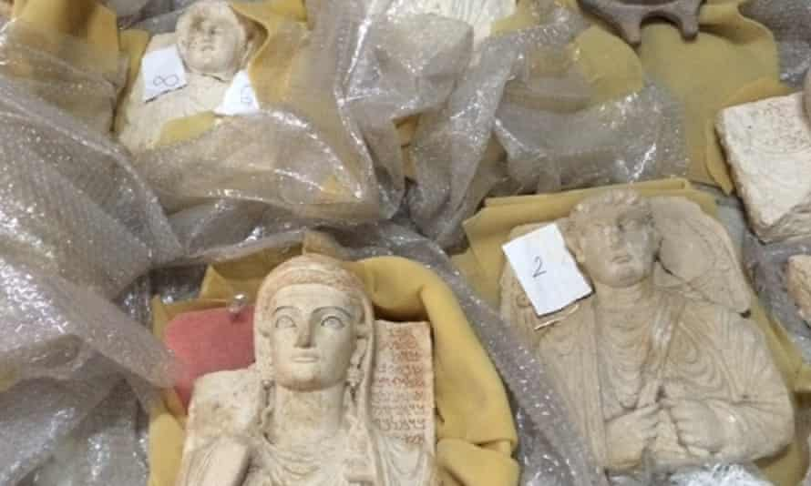 Funerary statues rescued from Palmyra