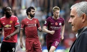 Romelu Lukaku, Mohamed Salah, Kevin De Bruyne and Jose Mourinho.