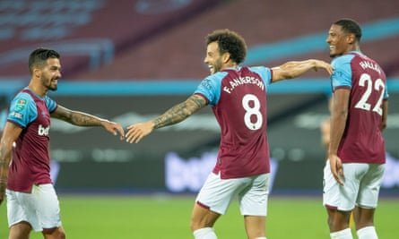 Felipe Anderson celebrates during West Ham's 5-1 over Hull in the Carabao Cup in September
