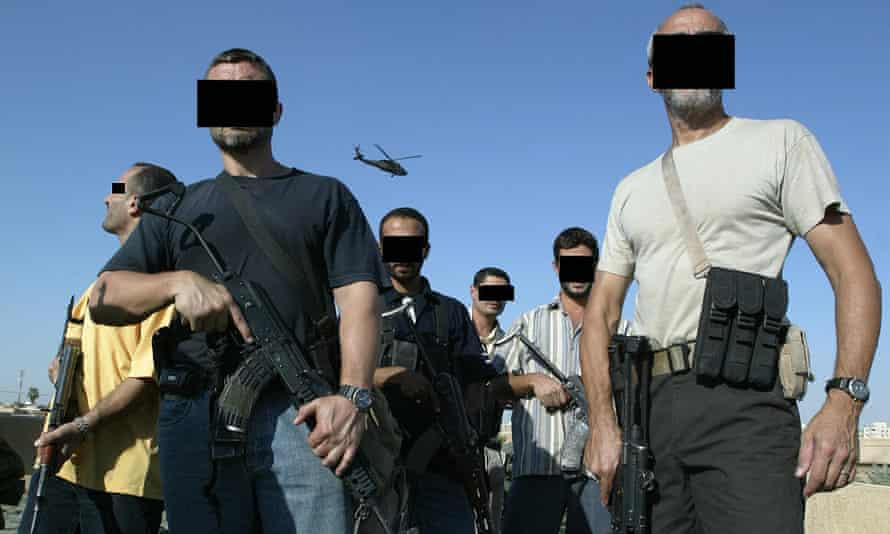 Iraqi and foreign members of a private security company in Baghdad in 2007.