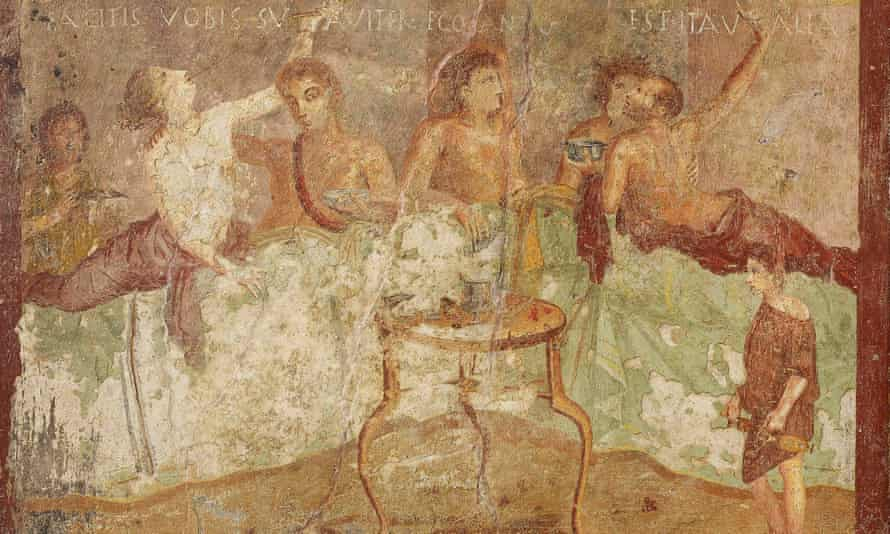 A Pompeii dinner party, with the inscriptions 'Make yourselves comfortable'; 'I am singing'; 'Go for it!'