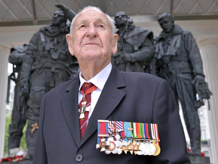 Les Munro, the last surviving pilot from the Dambusters raid, pictured at the Bomber Command Memorial, London.