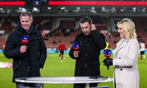 Jamie Carragher, Gary Neville and Kelly Cates on Sky Sports.