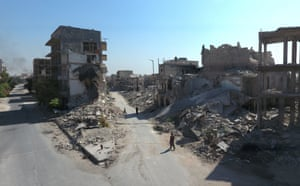 An aerial view of the buildings destroyed by the Assad regime forces and Russian army in the Tariq al-Bab neighborhood