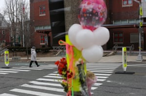 A memorial for fatal pedestrian victim Allison Donovan at the Powder House Boulevard in Somerville, Massachusetts.