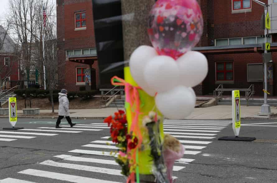 A memorial for fatal pedestrian victim Allison Donovan at the Powder House Boulevard in Somerville, Massachusetts.
