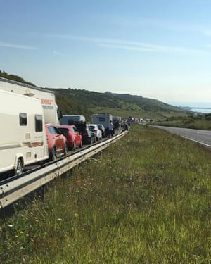 Queues on the A20 in Dover.