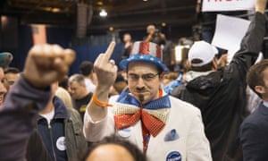 A Trump supporter reacts to protesters inside the UIC Pavilion.