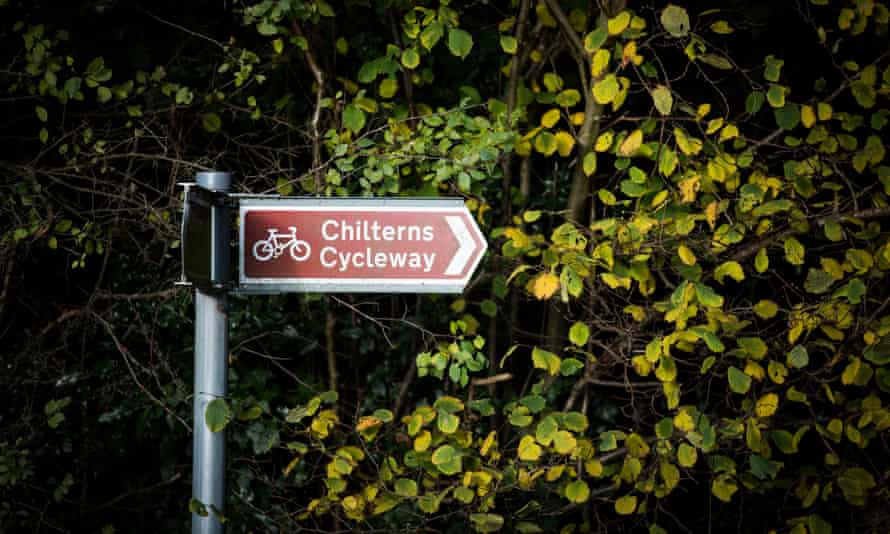A sign for a current cycle way along the HS2 route through the Chilterns