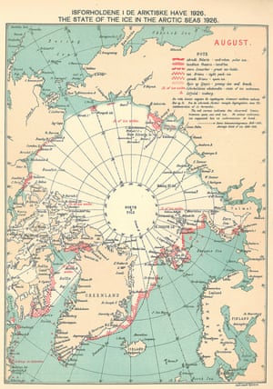 A Danish Meteorological Institute ice chart for August, 1926. The red symbols mark the location of observations recorded in ship logbooks.