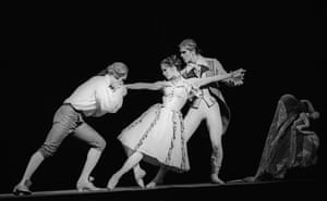 Stephen Wicks (Monsieur G M), Darcey Bussell (Manon) and Adam Cooper (Lescaut) in Manon