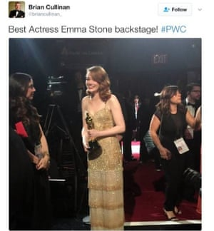 PwC accountant Brian Cullinan tweeted this just before handing out the wrong envelope to the presenters of the best movie Oscar, February 2017. It was later deleted.