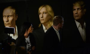 The triptych of Vladimir Putin, Donald Trump and Marine Le Pen at Maria Katsanova's Trump inauguration party in Moscow