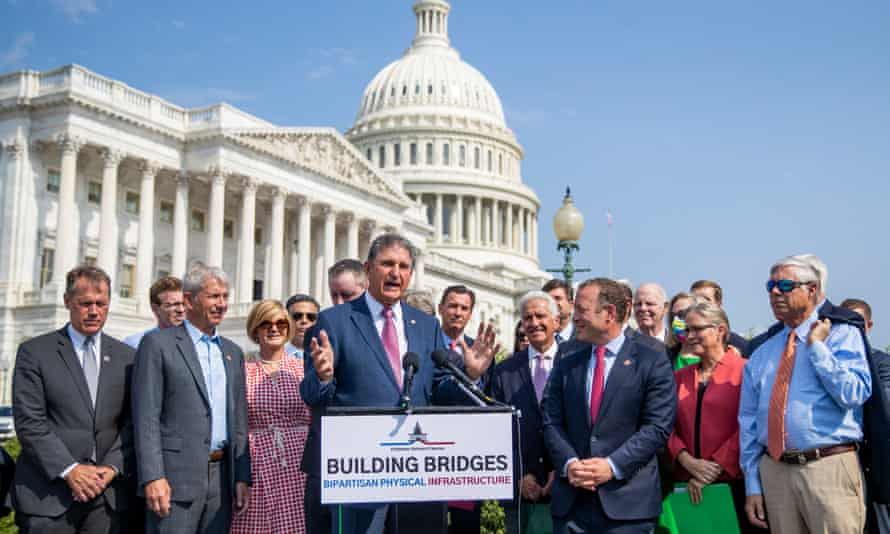 The Democratic senator from West Virginia Joe Manchin speaks at a press conference in support of the bipartisan infrastructure deal at the US Capitol on Friday.