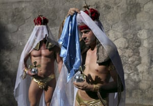 Madrid, Spain Revellers prepare for the gay pride parade