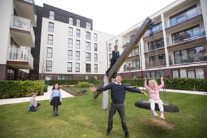 Children play at the Baylis Old School development in Lambeth, London.