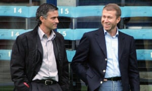 José Mourinho with Roman Abramovich in 2004, at the beginning of Mourinho's first spell in charge at Chelsea