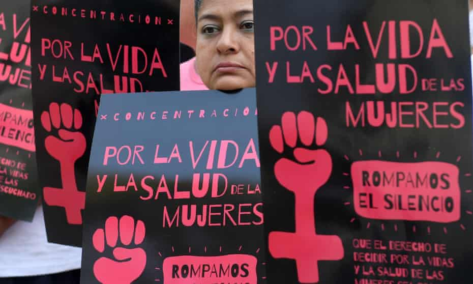 Salvadoran women take part in a demonstration to demand the decriminalization of abortion in San Salvador on 23 February 2017.