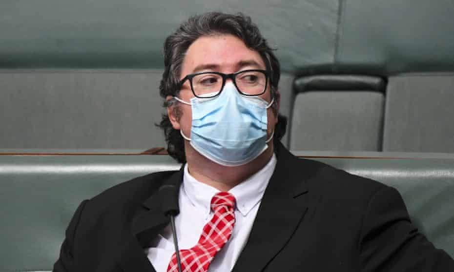 The Member for Dawson George Christensen wears a face mask during House of Representatives Question Time at Parliament House in Canberra, Wednesday, August 11, 2021