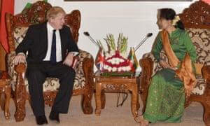 Boris Johnson and Aung San Suu Kyi at their meeting in Naypyidaw.