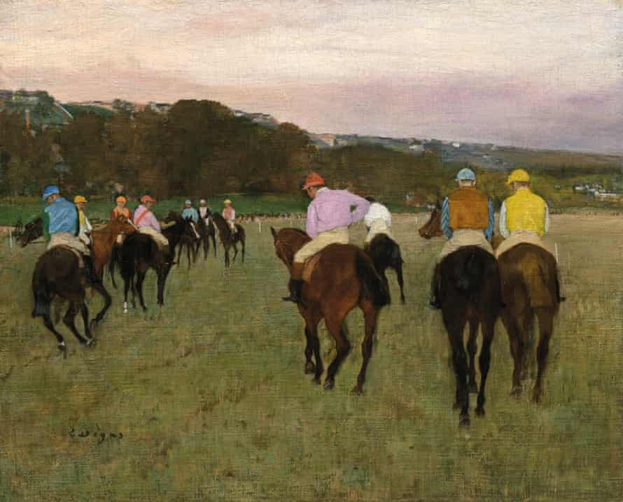 Edgar Degas, caballos de carreras en Longchamp, 1871, posiblemente reelaborado en 1874