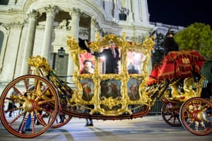 Lord Mayor Elect William Russell, soon to become the 692nd lord mayor of the City of London, rides in the state coach as it prepares to leave Guildhall Yard during a dawn rehearsal. The state coach has been in use since 1757 and it is the world's oldest ceremonial vehicle still in use