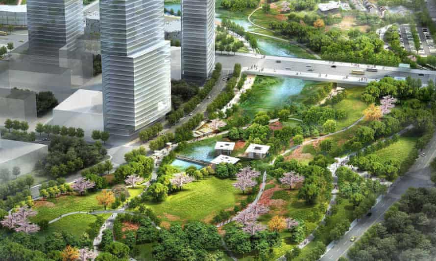 An illustration of Xinyuexie Park, Wuhan, China, designed to improve a natural storm corridor.