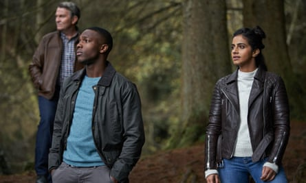 Bradley Walsh as Graham, Tosin Cole as Ryan and Mandip Gill as Yaz in Doctor Who.