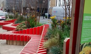 The Fresh Air Square in Tooley Street, London, a modular, portable micro-park created by businesses to make a more attractive environment for pedestrians.