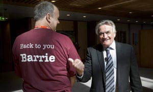 Insiders host Barrie Cassidy, pictured with Mark Chandler from the Queensland branch of the Barrie Cassidy Appreciation Society, will be leaving in two weeks