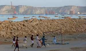 Gwadar, and its developing port, seen in the background, is the centrepiece of CPEC.