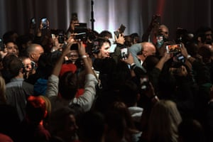 Trudeau is surrounded by the media