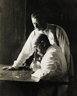 Dr. Robert Koch (seated) with his assistant Dr. Richard Pfeiffer