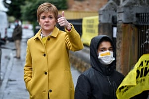 Scotland's First Minister and leader of the Scottish National Party (SNP), Nicola Sturgeon, at Annette Street school polling station in Glasgow.