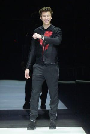 Shawn Mendes at Emporio Armani SS18.