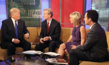 Donald Trump talks with Fox & Friends hosts Steve Doocy, Gretchen Carlson and Brian Kilmeade on 6 December 2011 in New York City.