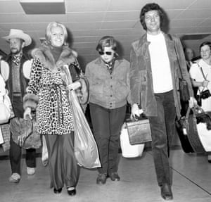 Returning from a seven-month tour of the US, the glamorous couple with son Mark in London, 1970