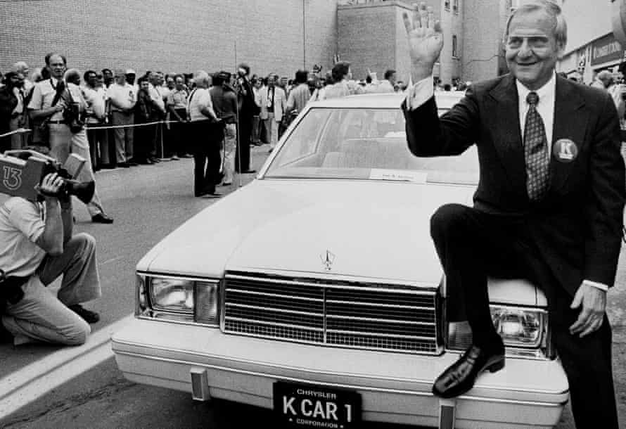 Lee Iacocca at the launch of the Chrysler K-Car, in Detroit, in 1980 - he appeared in ads for the car, with the line 'If you can find a better car, buy it'.