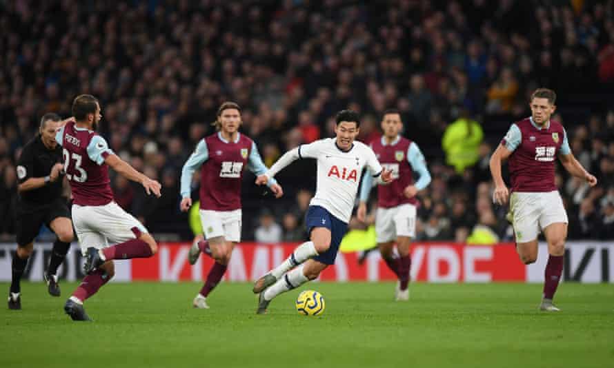 Son Heung-min of Tottenham breaks to score his team's third against Burnley.