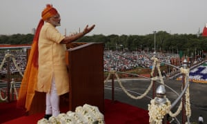 Modi pleaded for resolve to make an India that was self-reliant and free of nepotism.