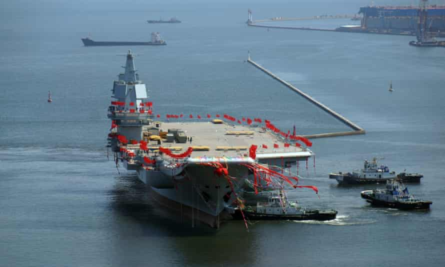 The new aircraft carrier at Dalian port, Liaoning province.